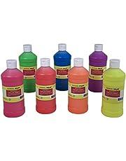 School Smart 2002394 Washable Finger Paints, Pint, Grade: Kindergarten to 12, Assorted Neon (Pack of 7)