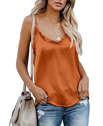 LEANI Women's Summer V Neck Ruffle Strappy Cami Tank Tops Sleeveless Shirts Blouses