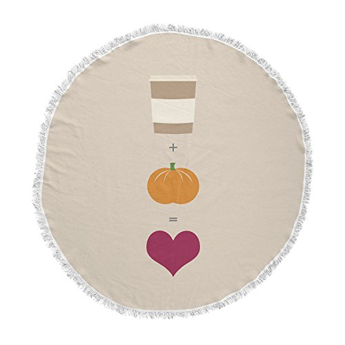 KESS InHouse Original Pumpkin Spice Latte Tan Orange Round Beach Towel Blanket by Kess InHouse (Image #1)