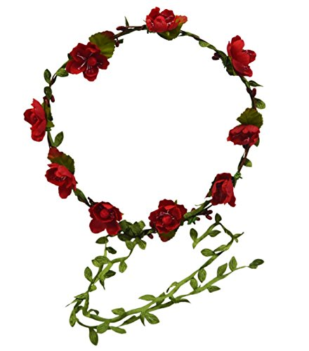 (Floral Fall Beach Flower Crown Hair Wearth Headbands with Lovely Tail F-02 Red)