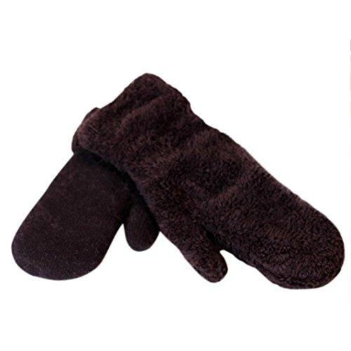 Guantes calientes para Mujeres,Ouneed ® Mantener cálido invierno Color puro manopla gruesa Cony pelo guantes Negro