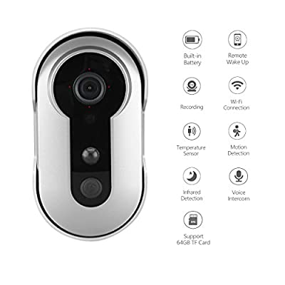 WiFi Wireless Video Doorbell in Silver(Battery Powered, 960P Smart Waterproof Home Security Camera, Night Vision, Motion Sensor, Remote Voice Intercom) with 8G TF Card