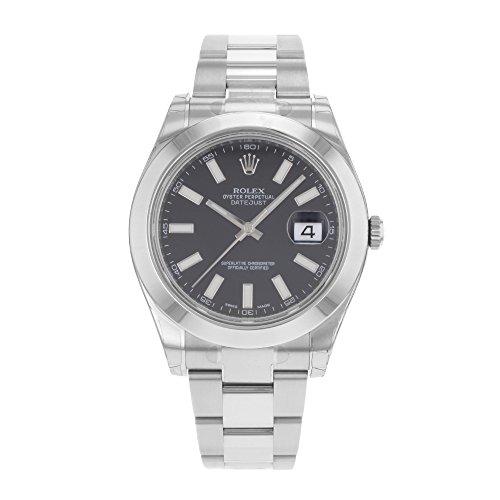 (NEW Rolex Datejust II Stainless Steel Black Sticks Oyster Mens watch 116300 BKIO)