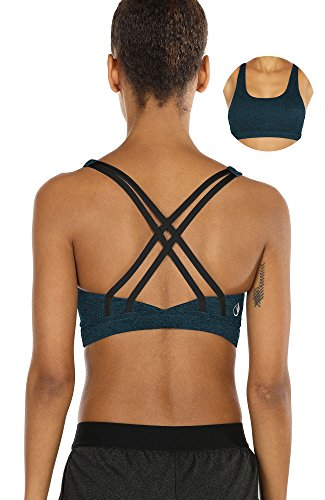 icyzone Workout Sports Bras for Women - Strappy Sports Bra Padded for Yoga, Running, Fitness - Athletic Activewear Tops