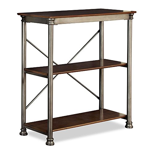 The Orleans Three Veneer Shelf Open Storage - 39'' Gray/Vintage Caramel Dimensions: 38''W x 16''D x 39''H Weight: 59 lbs by Home Styles