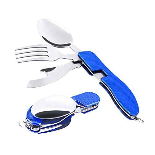 Buycitky Camping Utensil Set 3 in 1 Foldable Multi-Function Stainless Steel Pocket Fork Spoon Knife Kits Brilliant Eating Utensil Hiking/Survival (Blue)