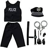 Kid's Police Officer Costume fedio 9 Pieces Policeman Role Play Dress up Set for Childrens(Ages 3-5)