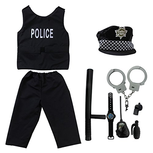 Kid's Police Officer Costume fedio 9 Pieces Policeman Role Play Dress up Set for Childrens(Ages (Policeman Accessories)