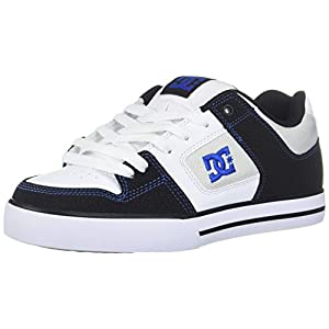 DC Men's Pure Skate Shoe, Black/White/Blue, 15 D M US
