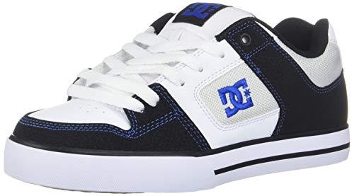 DC Men's Pure Skate Shoe, Black/White/Blue, 14 D M US (Best Snow Skate Shoes)