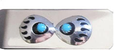 Navajo Hand Crafted Money-clip with 2 Bear Claws Blue