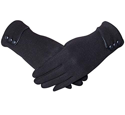 Justay Womens Winter Gloves Touch Screen Warm Fleece Lined Thick Phone Windproof Texting Gloves Gifts(black)