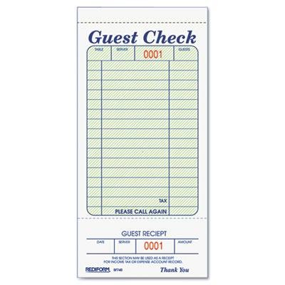 """Rediform - 12 Pack - Guest Check Book 3 3/8 X 6 1/2 Tear-Off At Bottom 50/Book """"Product Category: Forms Recordkeeping & Reference Materials/Forms & Recordkeeping Systems"""""""