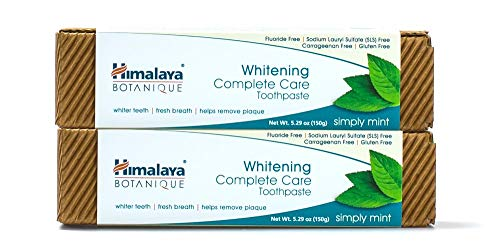 (Himalaya Whitening Toothpaste - Simply Mint 5.29 oz/150 gm (2 Pack), Natural, Fluoride-Free & SLS-Free)