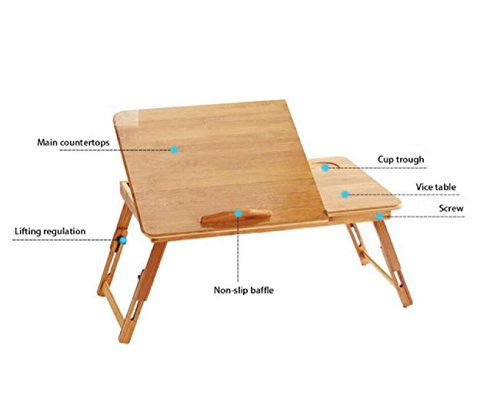 GAOJIAN College students learn laptops table Natural Bamboo Laptop Table Desk Adjustable Height Folding Table Computer Desk by GAOJIAN (Image #2)