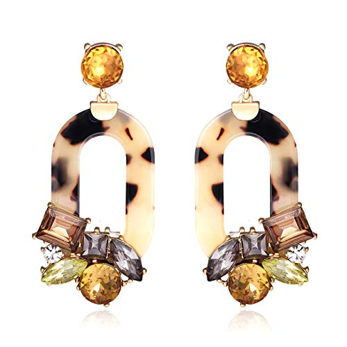 (BSJELL Resin Tortoise Shell Dangle Earrings Statement Big Mottled Leopard Print Acetate Earrings Bohemian Crystal Multicolor Oval Drop Earrings Fashion Jewelry for Women)
