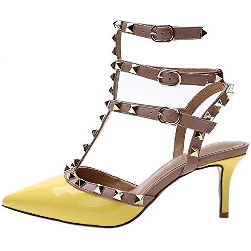 Mavirs Women's Pointed Toe Ankle Strap Pumps T-Strap Mid Heel Rivets Studded Shoes Yellow buy cheap eastbay sale real free shipping for nice purchase cheap price high quality online WkohM3pu0Q
