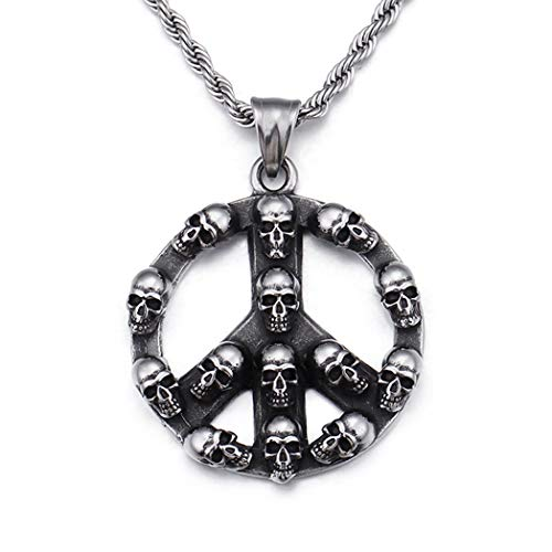 HAQUIL Skull Jewelry Peace Sign Stainless Steel Skull Necklace for Men