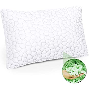Shredded Memory Foam Pillow with Bamboo Cover, Premium Luxury Gel Memory Foam Pillows for Sleeping, Adjustable Firm or Soft Loft Standard Queen, Side Sleepers, Back Sleepers or Neck Pain