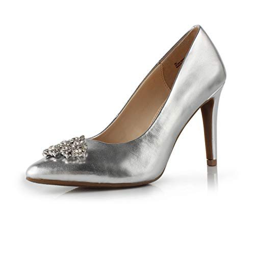 DUNION Women's Appoint Pointed Toe High Heel Stiletto Dress Pump Evening Party Wedding Shoes,Silver Metallic,6.5 B(M) US