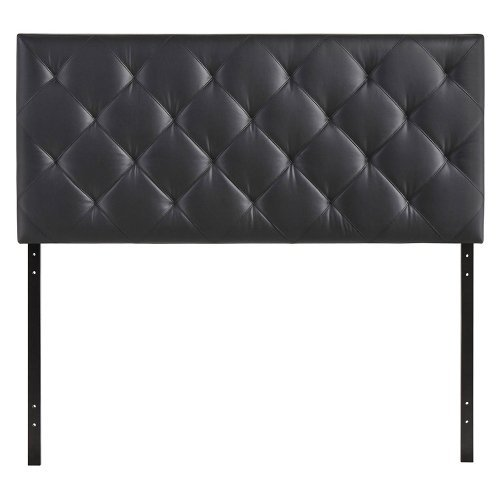 Modway Theodore Upholstered Faux Leather Tufted Headboard in Black, Twin Size by Modway