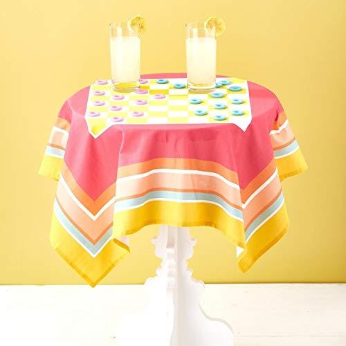 Two's Company Splash of Fun Tablecloth Checkers Set