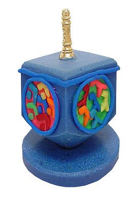 Hanukkah Chanukkah Dreidel Fimo Colorful Hebrew Letters, Gold Plated Handle, With A Stand, 3.5'' Hand Made Perfect & Great Gift for Hanukkah Collectors Kids Housewarming Birthday