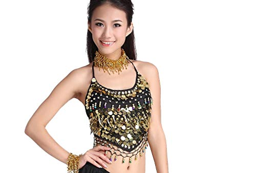 ZLTdream Belly Dance Chiffon Banadge Top with Chest Pad Hanging Bells and Coins Black