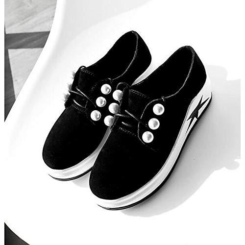 Toe Flat Femme Shoeshaoge Closed Noir Sneakers Printemps Heel Confort Chaussures awnqn8xU