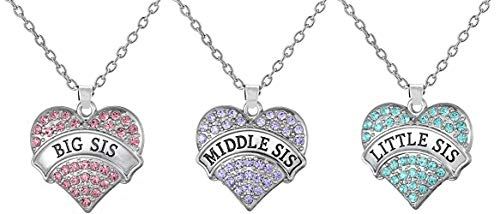 Set of 3 Big Sis, Middle Sis, Little Sis Colorful Heart Matching Necklace Jewelry Gift Set - Sister Necklaces for 3 (Big Sis Pink - Mid Sis Purple - Lil Sis Blue)