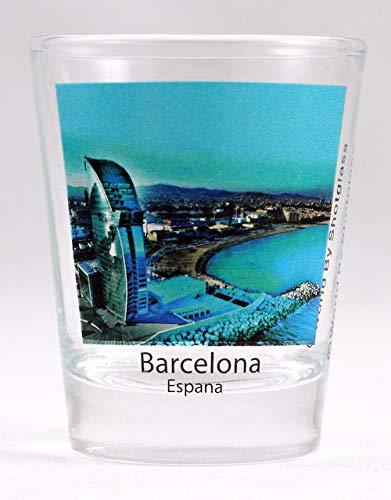 (Barcelona Spain City Panorama Color Photo Shot Glass)