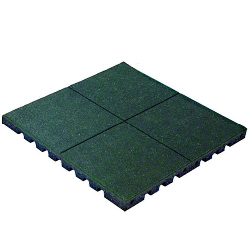 "KIDWISE PlayFall Playground Safety Surfacing Green Pallet of 40 Tiles - 2' x 2' Rubber Tiles (160 sq. ft.) 1.75"" Thickness"