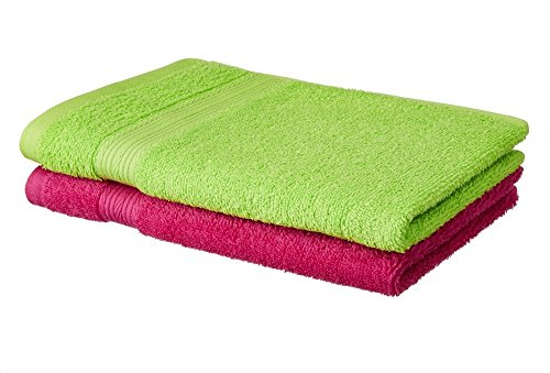 Amazon price history for Amazon Brand - Solimo 100% Cotton 2 Piece Hand Towel Set, 500 GSM Spring Green and Paradise Pink