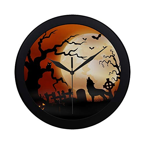 WBSNDB Modern Simple Halloween Night Wolf Pumpkins Owl Moon Pattern Wall Clock Indoor Non-Ticking Silent Quartz Quiet Sweep Movement Wall Clcok for Office,Bathroom,livingroom Decorative 9.65 Inch]()