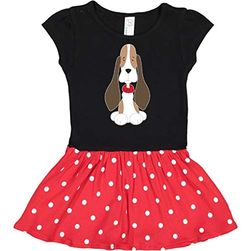 inktastic Basset Hound with Infant Dress 24 Months Black & Red with Polka Dots