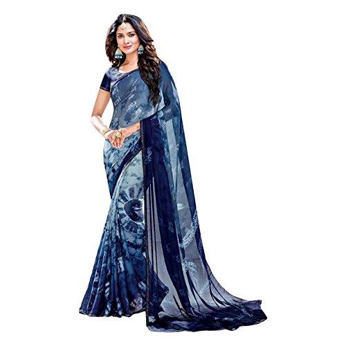 4f8b5a1fb2e7f Amazon.com  Bollywood Satin Printed Seroski Swarovski Work Saree Sari Blouse  Muslim Women Wedding Ceremony Party Wear  Clothing