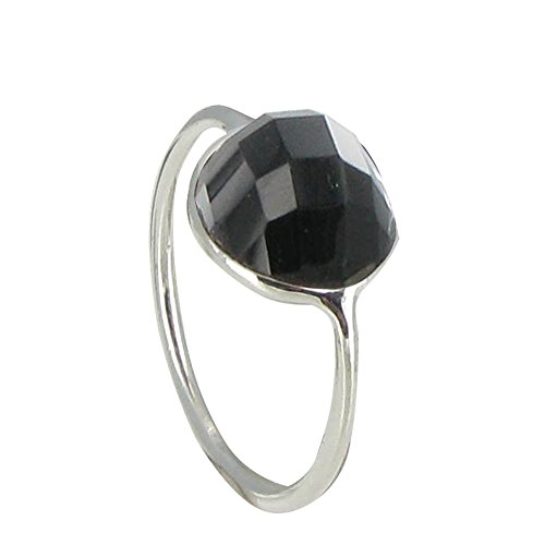 Les Poulettes Jewels Sterling Silver Ring Large Black Onyx Hemisphere Faceted - size 8.5