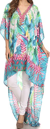 Sakkas SS1621 KF2503512A - HiLowKaftan Laisson Hi Low Caftan Dress Top Cover/Up Fit with Printed Pattern - Turq Pink/Multi - OS