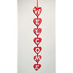 Red Wood Hearts Valentine's Day Hanging Welcome Sign