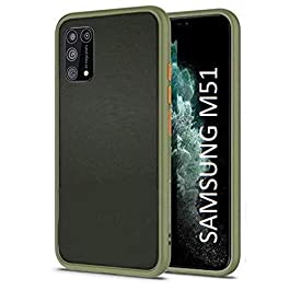 AE Mobile Accessories Back Cover for Samsung M51 Froasted Smoke Hard Matte Finish with Soft Side Frame Fit Protective Back Case Cover (Olive)