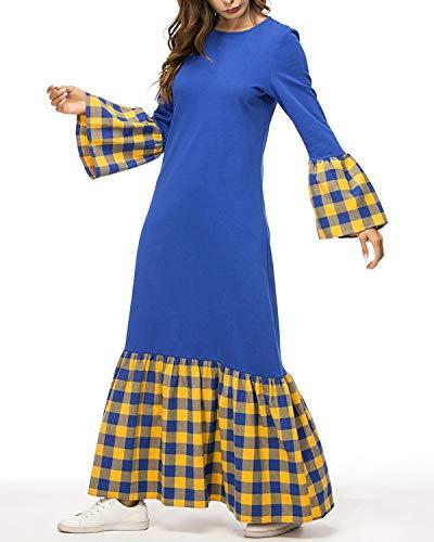 Con color Costura De Mujer Size Manga Blue Y Largo Cuello Blue Campana Escocés Jiuyizhe L Para Vestido Pico OCqUwwX