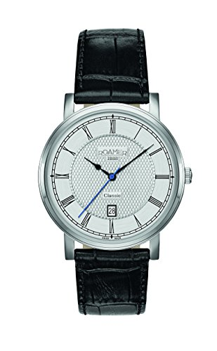 Roamer Classic Line Men's Quartz Watch with Silver Dial Analogue Display and Black Leather Strap