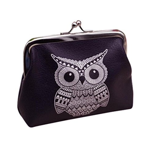 Wallet,toraway Vintage Women Small Coin Pockets Hasp Owl Purse Clutch Wallet Bags (Black)