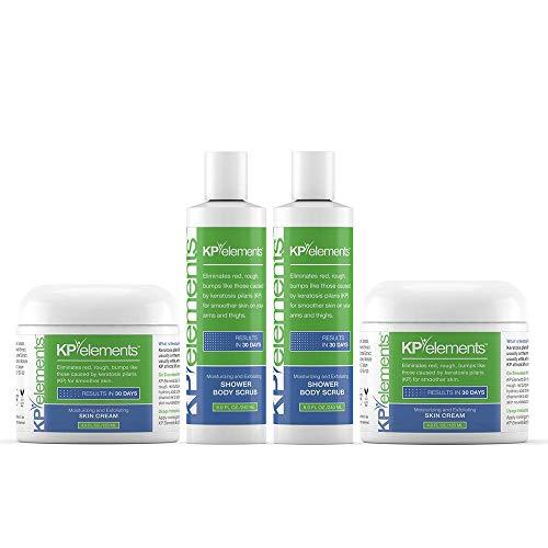 KP Elements Keratosis Pilaris Body Scrub & Exfoliating Skin Cream Set, 12 fl oz. total, 2 Pack - All-Natural, Soothing, Healing Ingredients ()