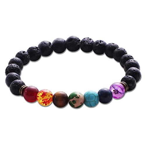 (BaiYunPOY Elastic Beaded Bracelet - Natural Stone Yoga Beads Bracelet Charms Bangle for Men Women Lovers (Colored Beads) )