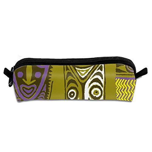 Pencil Case New Guinea Masks 2D_129 Unisex Student Zipper Polyester Pen Box Stationery Bag Lightweight Storage Bags