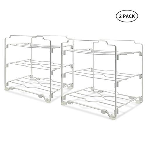 YOMYM Wrap Organizer, Kitchen Wrap Organizer Rack 3 Tier Stackable Storage Wrap Stand Organizer Holder for Aluminum Foil, Saran and Plastic Wrap - 2 packs