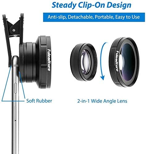 Mobile Camera Professional Lens Equipment,0.5 x Ultra Wide Angle Lens Clip in Mobile Phone Lens Support Android and iOS Most Smartphones 15 x Macro Lens Travel