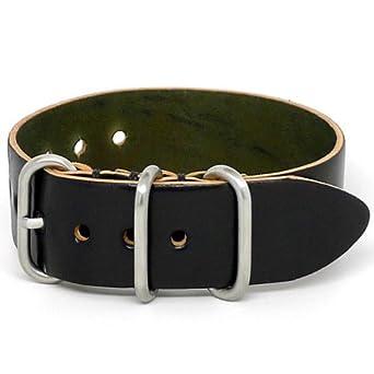 DaLuca Shell Cordovan 1 Piece NATO Watch Strap - Black (Matte Buckle) : 24mm
