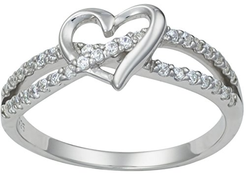 - Kinzie Fashion Promise Ring for Her: Sterling Silver Double Twisting CZ Simulated Diamond Heart Promise Ring, Sz 6